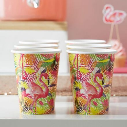 Pink Flamingo Paper Cups - pack of 8